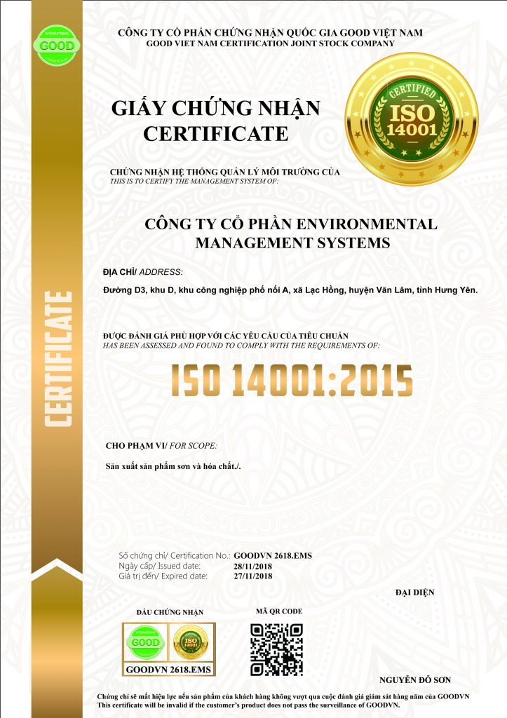 Giấy chứng nhận ISO 14001:2015 GOODVN